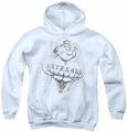 Popeye youth teen hoodie Strong white