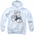 Popeye youth teen hoodie Tattooed white