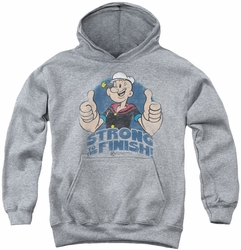 Popeye youth teen hoodie To The Finish athletic heather