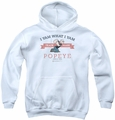 Popeye youth teen hoodie Vintage white