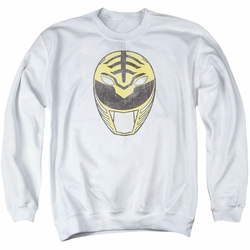 Power Rangers adult crewneck sweatshirt White Ranger Mask white
