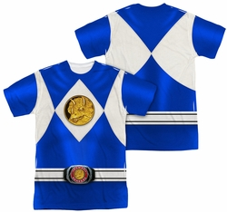 Power Rangers full sublimation t-shirt Blue Ranger Emblem short sleeve multi