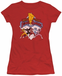 Power Rangers juniors sheer t-shirt Retro Rangers red