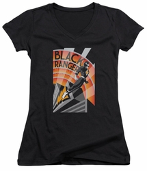 Power Rangers juniors sheer v-neck t-shirt Black Ranger Deco black