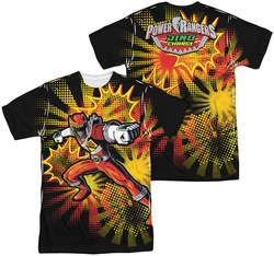 Power Rangers mens full sublimation t-shirt Red Ranger Burst