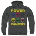 Power Rangers pull-over hoodie Ranger Heads adult charcoal