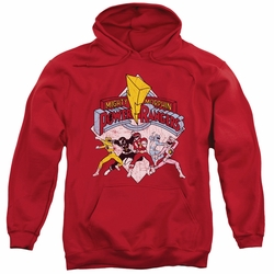 Power Rangers pull-over hoodie Retro Rangers adult red