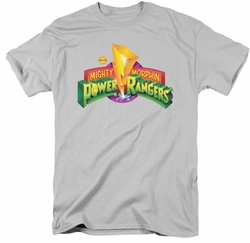 Power Rangers t-shirt MMPR Logo mens silver