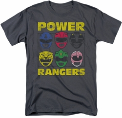 Power Rangers t-shirt Ranger Heads mens charcoal
