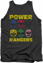 Power Rangers tank top Ranger Heads mens charcoal