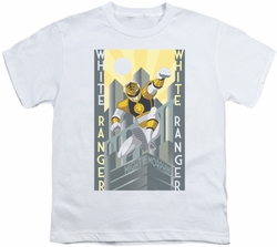 Power Rangers youth teen t-shirt White Ranger Deco white