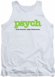 Psych tank top Title mens white