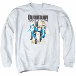 Quantum And Woody adult crewneck sweatshirt Quantum And Woody white
