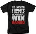 Rambo First Blood t-shirt He Never mens black