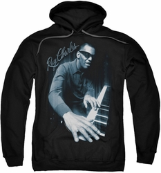 Ray Charles pull-over hoodie Blues Piano adult black