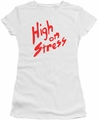Revenge Of The Nerds juniors t-shirt High On Stress white