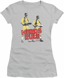Revenge Of The Nerds juniors t-shirt Nerds Rule silver