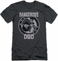 Rocky and Bullwinkle slim-fit t-shirt Dangerous mens charcoal