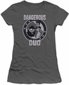 Rocky & Bullwinkle juniors sheer t-shirt Dangerous charcoal