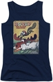 Rocky & Bullwinkle juniors tank top Vintage Poster navy