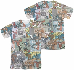 Rocky & Bullwinkle mens full sublimation t-shirt Collage