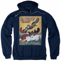 Rocky & Bullwinkle pull-over hoodie Vintage Poster adult navy