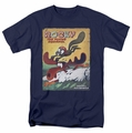 Rocky & Bullwinkle t-shirt Vintage Poster mens navy
