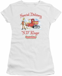 Santa Claus Is Comin To Town juniors t-shirt Kluger white