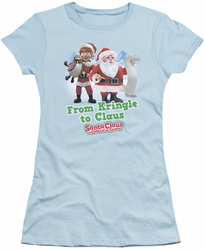 Santa Claus Is Comin To Town juniors t-shirt Kringle To Claus light blue
