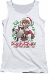 Santa Claus Is Comin To Town juniors tank top Penguin white