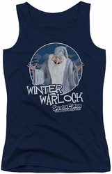 Santa Claus Is Comin To Town juniors tank top Winter Warlock navy