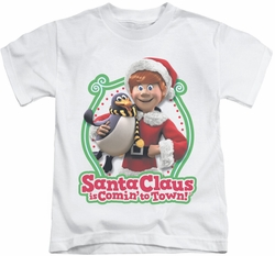 Santa Claus Is Comin To Town kids t-shirt Penguin white