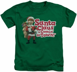 Santa Claus Is Comin To Town kids t-shirt Santa Logo kelly green