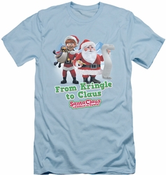 Santa Claus Is Comin To Town slim-fit t-shirt Kringle To Claus mens light blue