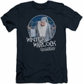 Santa Claus Is Comin To Town slim-fit t-shirt Winter Warlock mens navy