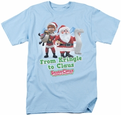 Santa Claus Is Coming To Town t-shirt Kringle mens light blue