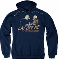 Saturday Night Live SNL pull-over hoodie Lay Off Me adult navy