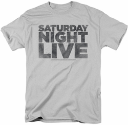 Saturday Night Live SNL t-shirt Distressed Logo mens silver