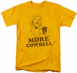 Saturday Night Live SNL t-shirt Illustrated Cowbell mens  gold