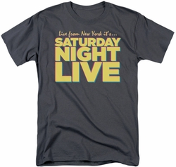 Saturday Night Live SNL t-shirt Live From New York mens  charcoal