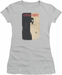 Scarface juniors t-shirt Vintage Poster silver