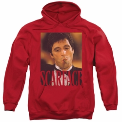 Scarface pull-over hoodie Smoking Cigar adult red