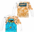 Sesame Street adult long-sleeved full sublimation shirt Cookie Crumbs white
