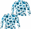 Sesame Street adult long-sleeved full sublimation shirt Cookie Face Pattern white
