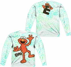 Sesame Street adult long-sleeved full sublimation shirt Elmo Scribble white