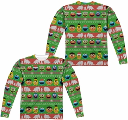 Sesame Street adult long-sleeved full sublimation shirt Sesame Street Christmas white