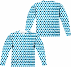 Sesame Street adult long-sleeved full sublimation shirt Simple Cookie Pattern white