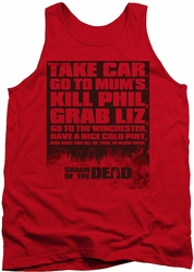 Shaun Of The Dead tank top List mens red