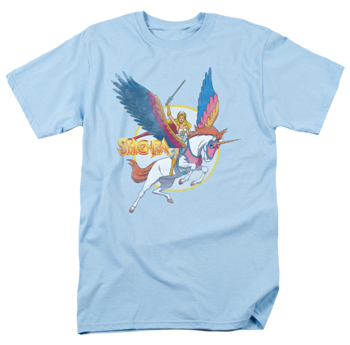 She ra t shirt and swiftwind mens light blue Light blue t shirt mens