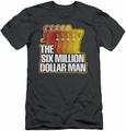 Six Million Dollar Man slim-fit t-shirt Run Fast mens charcoal